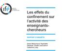 Dernières publications effets du confinement sur l'activité des professionnels de l'enseignement
